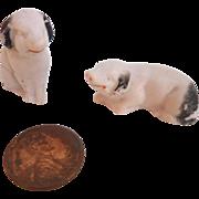 Sweet Antique GERMAN PUTZ Miniature Dollhouse Bisque PIGS Figurines Marked