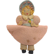 "Vintage 1930's Miniature 3.5"" Handmade Felt Cloth DOLL with Blue Bonnet & Pink Dress"