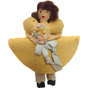 "Vintage 1930's Miniature 3.5"" Handmade Felt Cloth DOLL with Bouquet in Yellow Dress"