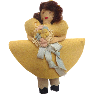 """Vintage 1930's Miniature 3.5"""" Handmade Felt Cloth DOLL with Bouquet in Yellow Dress"""