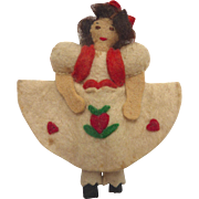 "Vintage 1930's Miniature 3.5"" Handmade Felt Cloth DOLL with Tyrolean Heart Dress"