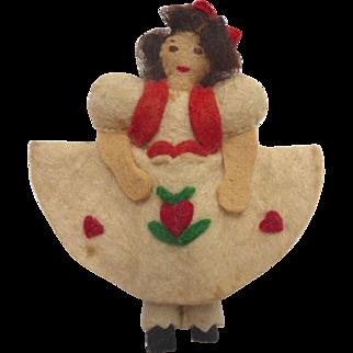 "Vintage 1930's Miniature 3.5"" Handmade Felt Cloth DOLL with Tyrolean Heart Dress"