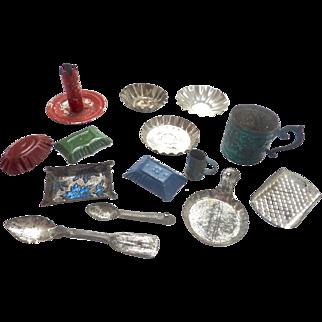 Antique GERMAN Miniature DOLL HOUSE Tin Mold Pans Grater Cups Kitchen LOT