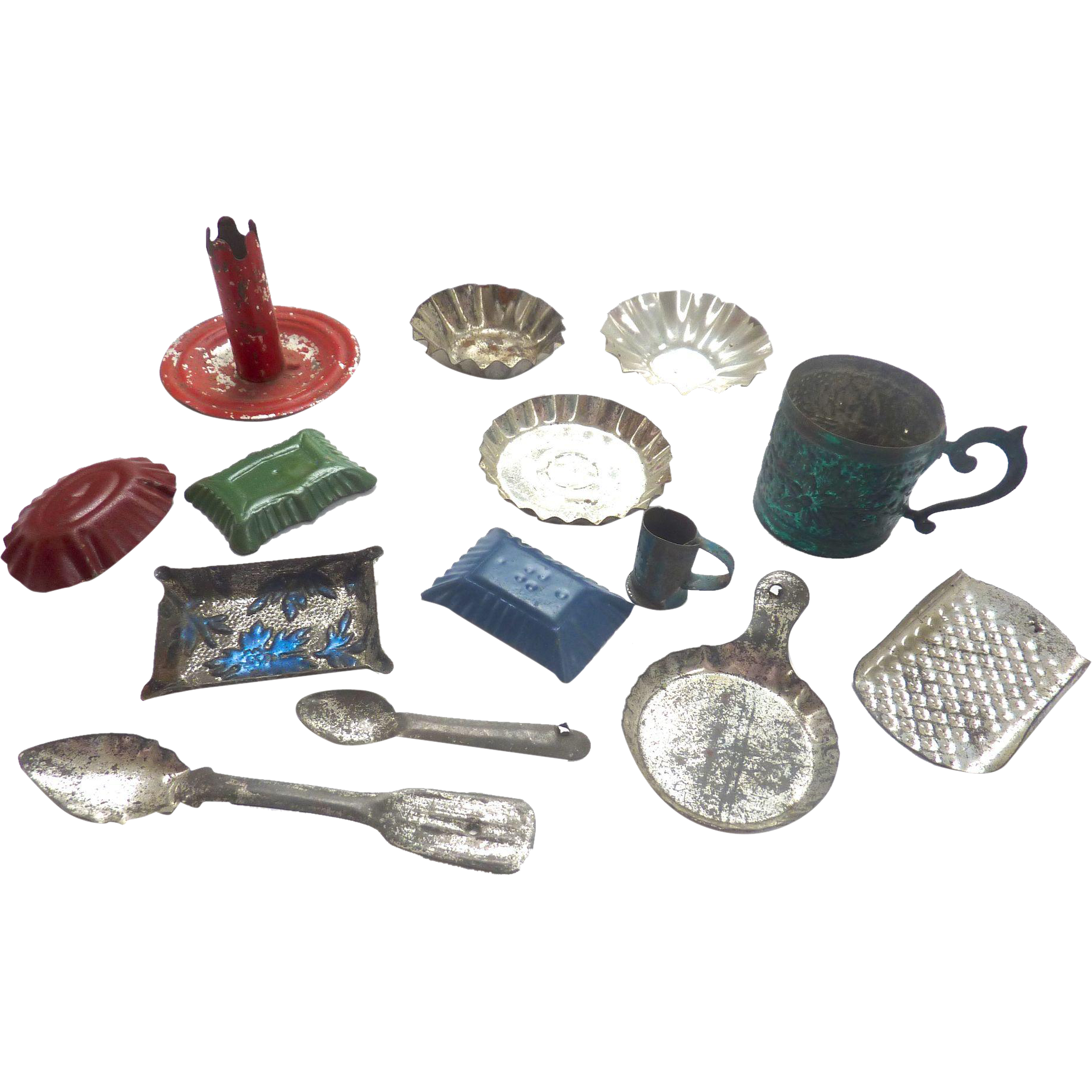 Antique GERMAN Miniature DOLL HOUSE Tin Mold Pans Grater Cups Kitchen LOT