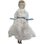 "Antique 7.5"" Hertwig GERMAN Bisque Parian Bonnet Head Doll in lovely Voile Cotton Dress DOLLHOUSE"