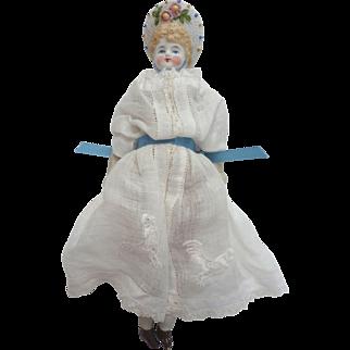 "Antique 7.5"" Hertwig GERMAN Bisque Parian Bonnet Head Doll in lovely Voile Cotton Dress DOLLHOUSE"