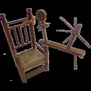 Rare 1920's Dollhouse Miniature FW Baxter MAYFLOWER Chair & Spinning Wheel