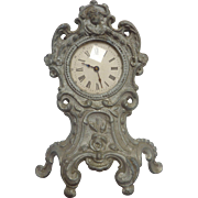 Antique Wind-up GERMAN DOLL Miniature Cast Metal Art Nouveau CLOCK w Pendulum DOLLHOUSE