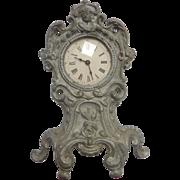 Antique Wind-up GERMAN DOLL Miniature Cast Metal Art Nouveau CLOCK w Pendulum DOLLHOUSE
