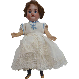 "Antique 1907 GERMAN Cabinet 8.5"" Recknagel DOLL with Lace Dress"