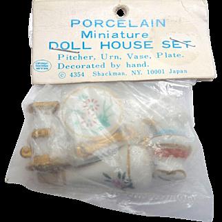 Vintage SHACKMAN Dollhouse Porcelain Pitcher Urn Vase Plate in ORIGINAL Unopened Packaging