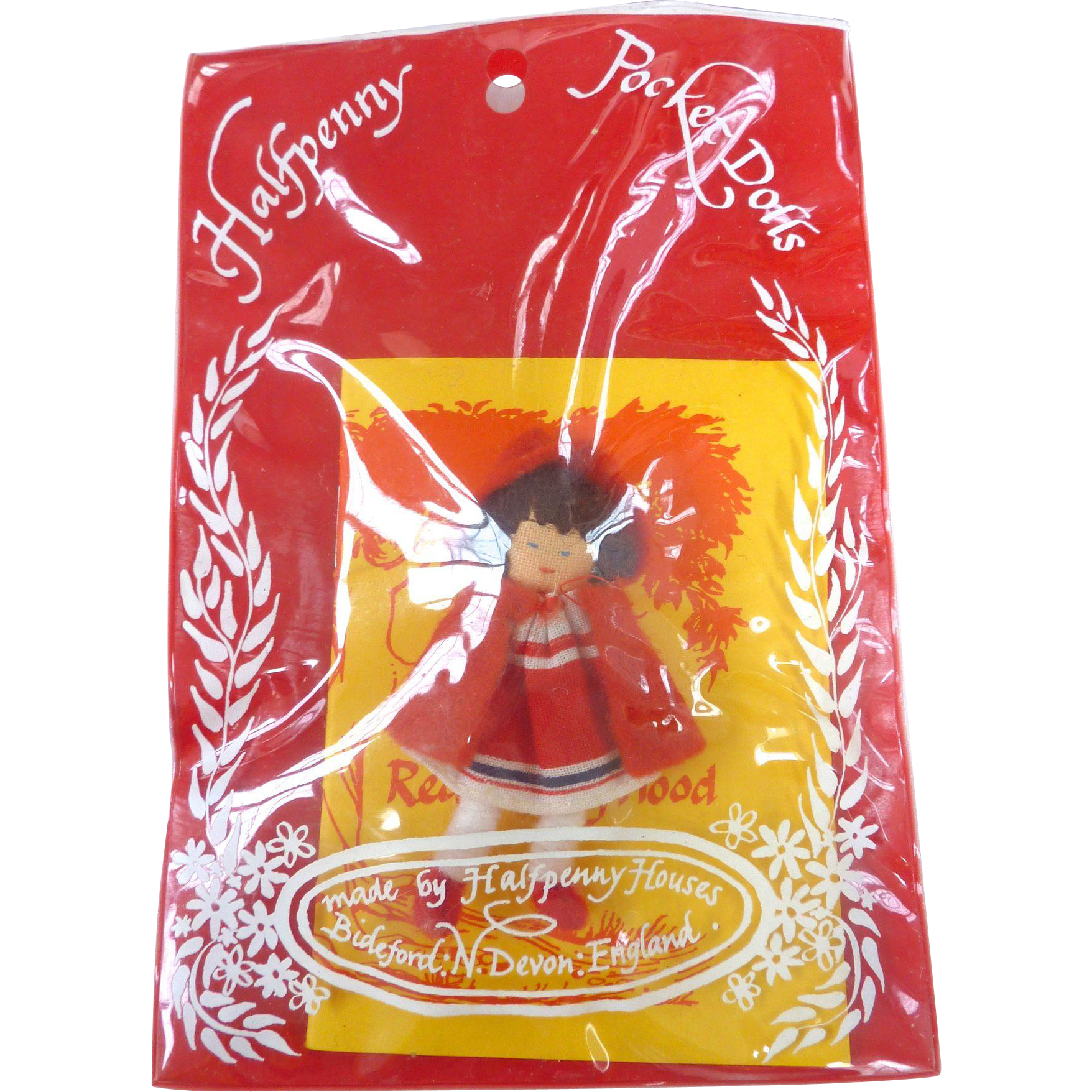 "Miniature 'Little Red Riding Hood' 2.5"" Halfpenny Pocket Doll by Halfpenny Houses~Made in England~"