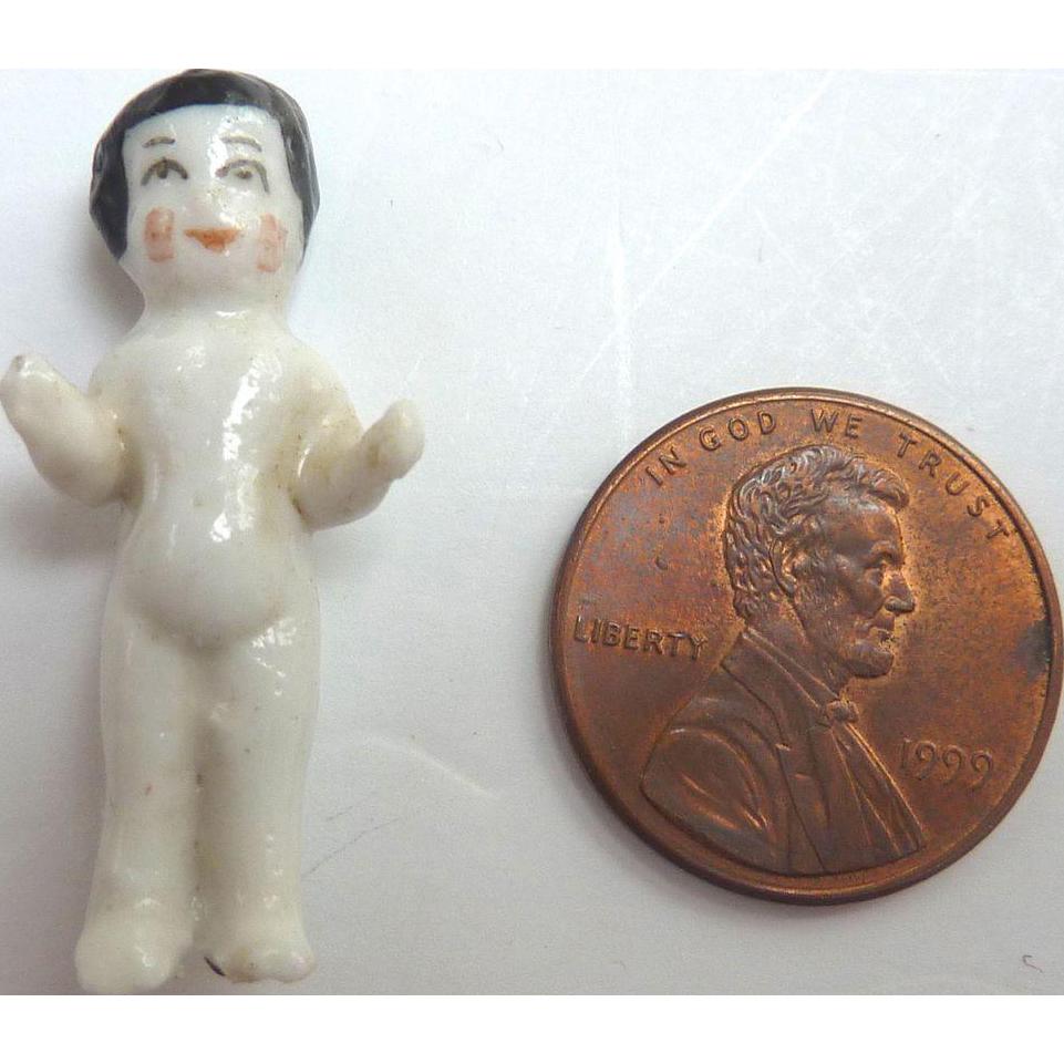 """Tiny 1.25"""" GERMAN Miniature Frozen Charlotte DOLL Nice Quality Glazed w Arms Away Blush Cheeks"""