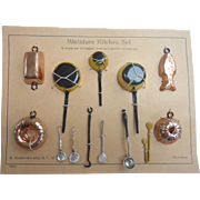 Vintage GERMAN Miniature Dollhouse Copper, Brass & Pewter KITCHEN SET on Original Card