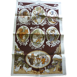 NEW Old Store Stock BEATRIX POTTER Irish LINEN Hand Towel designed for National Trust 1984