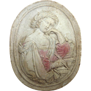 Antique GRAND TOUR Greek Intaglio Lady Writing Letter