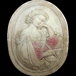 Antique GRAND TOUR Greek Intaglio Lady Writing Letter
