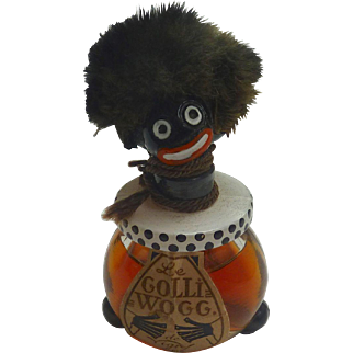 Rare 1920's VIGNY GolliWogg Glass Perfume Bottle FRANCE w label