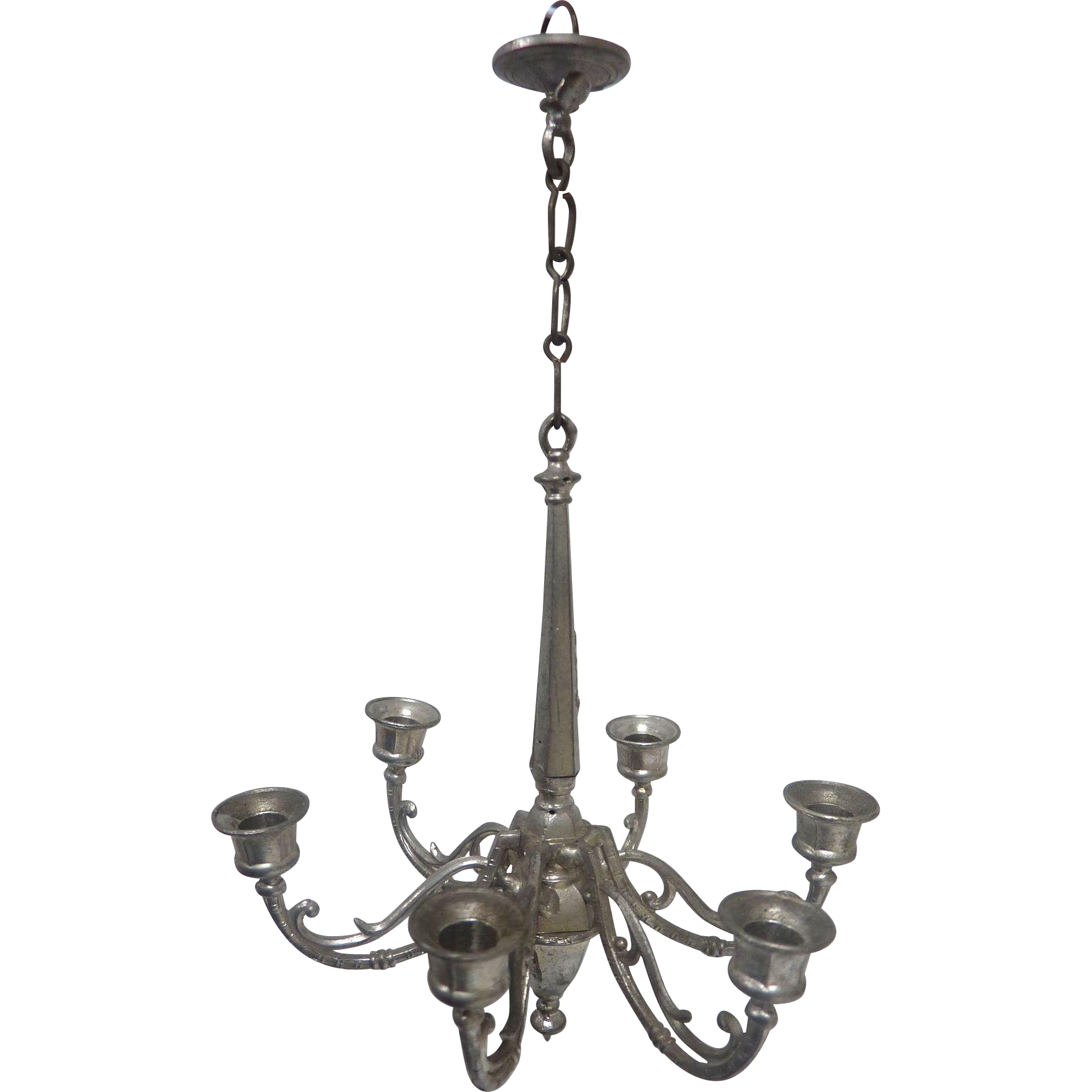 Antique Large 6 arm GERMAN Dollhouse Pewter CHANDELIER