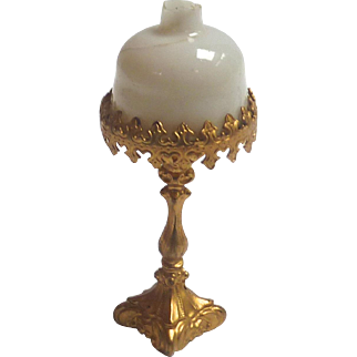 Antique GERMAN DOLL HOUSE Miniature Erhard & Sohne Ormolu LAMP Light