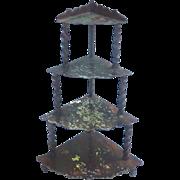 Antique Rock & Graner Corner Etagere GERMAN Dollhouse Miniature Tin Grain Painted
