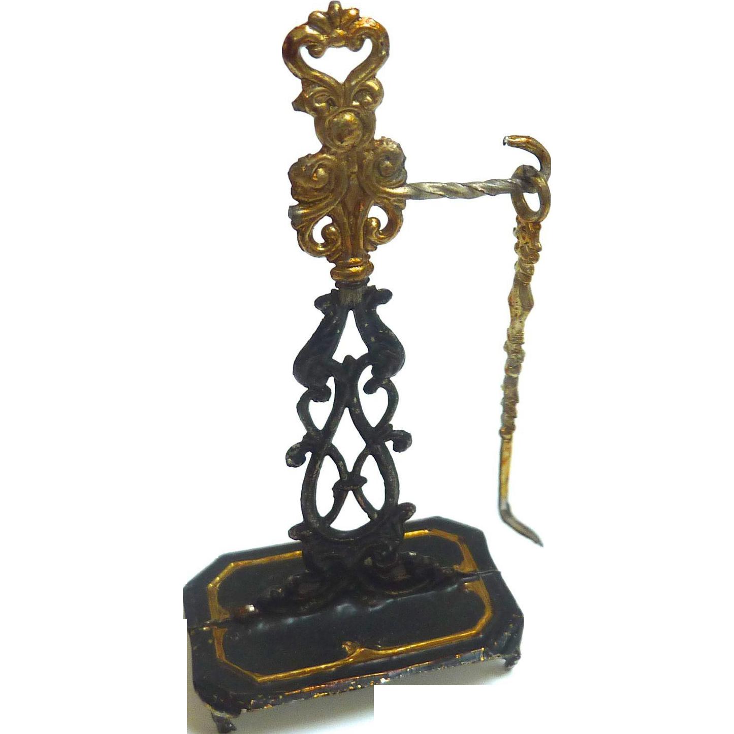 Antique GERMAN Dollhouse Miniature soft Metal Gilt FIREPLACE Tool Holder