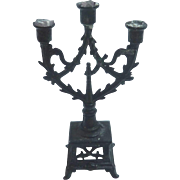 Antique GERMAN Black Metal DOLL HOUSE Miniature Candelabra