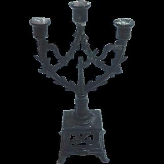 Antique GERMAN Black Metal DOLL HOUSE Miniature Candelabra