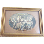 Sweet Christmas celebration hand colored Engraving ~Children, Dolls, Noahs Ark, Toys~