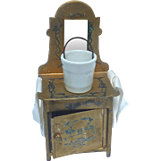 Antique GERMAN Tin Dollhouse Mirrored Wash Stand DRESSER w Pail Gold w Blue Stenciling