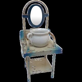 Antique GERMAN Blue Tin Dollhouse Mirrored Wash Stand w Pot