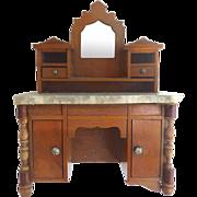 Antique GERMAN Schneegas Dollhouse Mirrored Bureau Cabinet w MARBLE Top