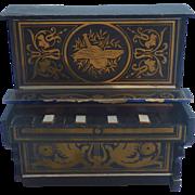 Antique GERMAN Biedermeier Boule Waltershausen Gilt Dollhouse PIANO