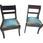 Antique GERMAN Biedermeier Boule Waltershouaqen Dollhouse Chairs