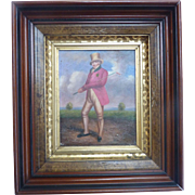 Antique Regency Era GOLF Portrait OOB Oil on Board FRAMED in Ornate Lemon Gold Frame