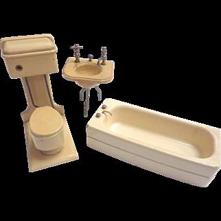 Vintage GERMAN Dollhouse Miniature Wooden BATHROOM Toilet Sink Tub