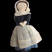 "Sweet Handmade OOAK 1930-40's PILGRIM Thanksgiving Cloth DOLL 7.5"""