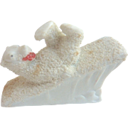 Vintage PUTZ Bisque POLAR BEAR rolling down HILL Snow Baby Miniature Doll house