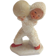Rare 1920's Putz bisque GERMAN Hertwig Snow Babies w Medicine Ball