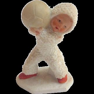 Rare 1920's Putz bisque GERMAN Hertwig Snow Babies w Medicine Ball