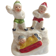 Rare 1920's Putz bisque GERMAN Hertwig Snow Babies CHILDREN Throwing Snowballs SLEDDING on Hill
