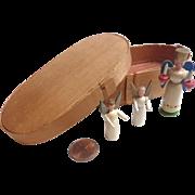 Sweet Vintage ERZGEBIRGE Putz Hand Carved Miniature ANGELS in Original Box for Dollhouse