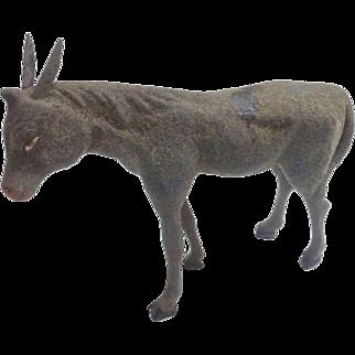 LARGE Antique 1870-80 ERZGEBIRGE Putz GERMAN Flocked Stick Leg Donkey Nativity