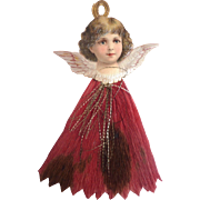 Dresden GERMAN Victorian ANGEL Embossed Scrap Tinsel Crepe Paper Ornament w Red Dress