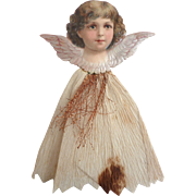 Dresden GERMAN Victorian ANGEL Embossed Scrap Tinsel Crepe Paper Ornament w White Dress