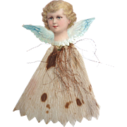 Dresden GERMAN Victorian ANGEL Embossed Scrap Tinsel Crepe Paper Ornament w Blonde Hair