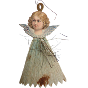Dresden GERMAN Victorian ANGEL Embossed Scrap Tinsel Crepe Paper Ornament w Blue Dress