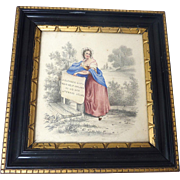 Antique GEORGIAN Original Watercolor PAINTING Young GIRL w Literary Verse