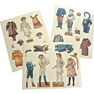 Vintage Set of PAPER DOLL Postcards for Smithsonian