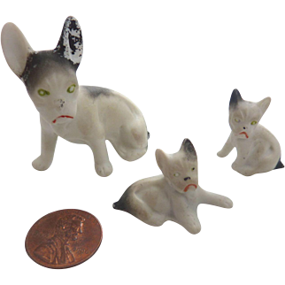 GERMAN Dollhouse Miniature BISQUE French BULLDOGS Hertwig Set of 3